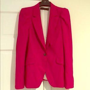 ZARA deep bright pink blazer with shoulder gathers